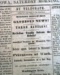 Rare-DAVENPORT-Iowa-Civil-War-w-Battle-of-Rich-Mountain-WV-1861-Old-Newspaper