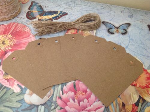 25 Rustic Buff 96 x 48mm Recycled Tags /& Natural Brown Jute Shabby Chic Twine