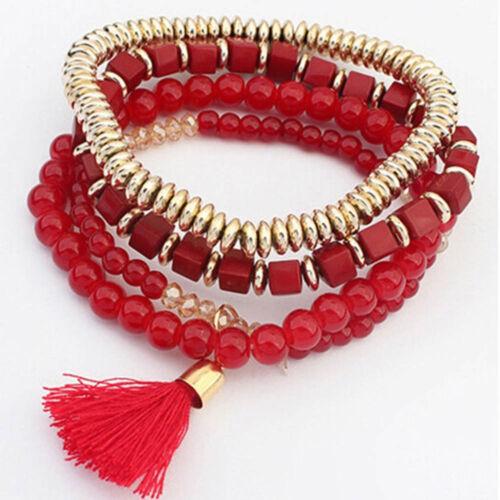 1Pcs Multilayer Beaded Tassel Elastic Charm Bracelets Jewelry for Female Girls