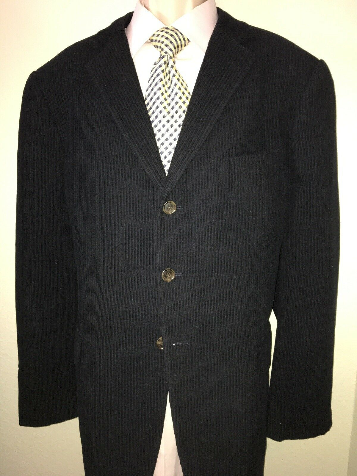 John W Nordstrom Lgold Piana Superfine Wool Navy bluee Double Vented Tail 48R