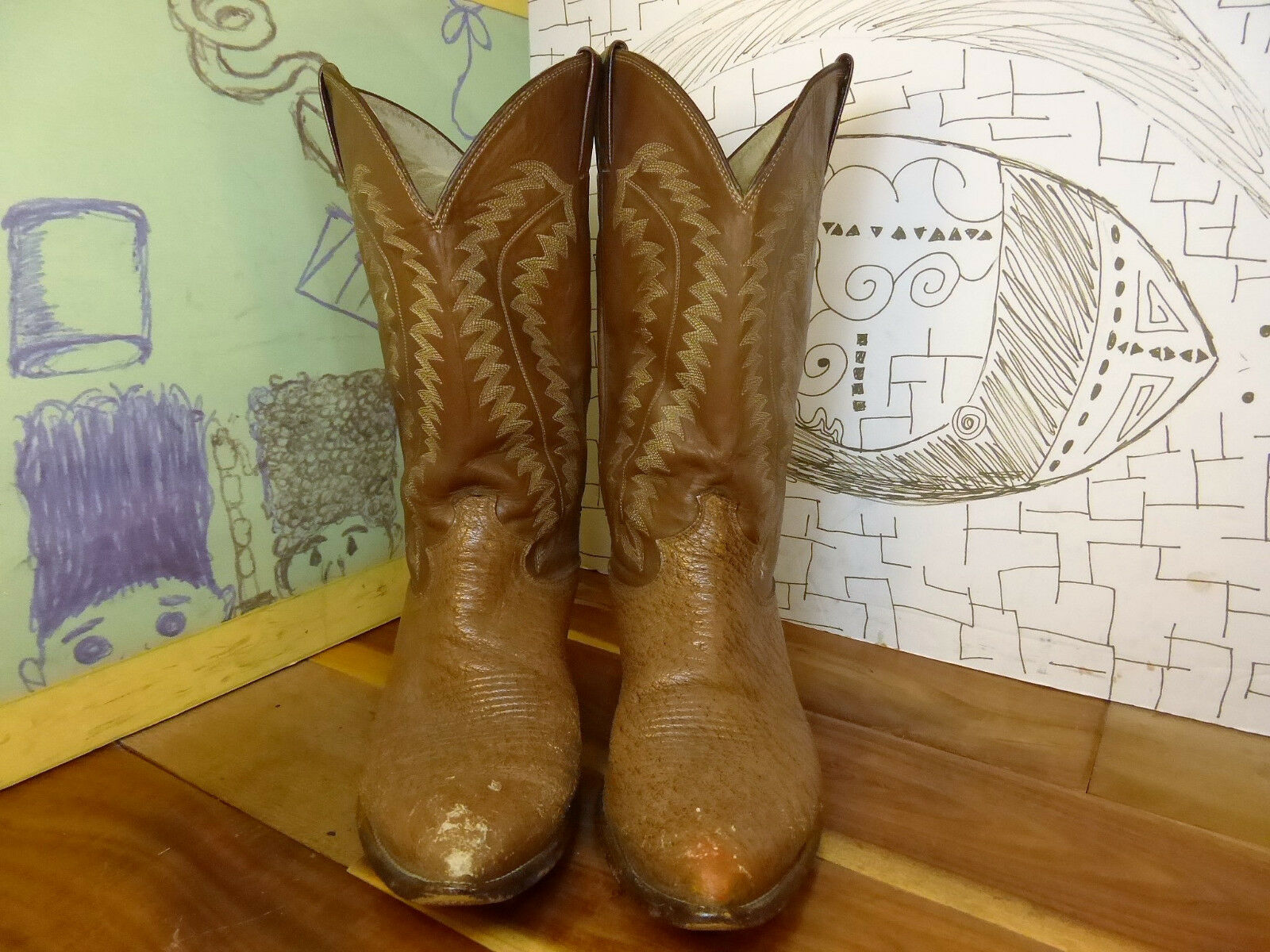 Justin Brown Leather Boots Men's 10D  J4910 Made in USA Gorgeous Boots   Vintage