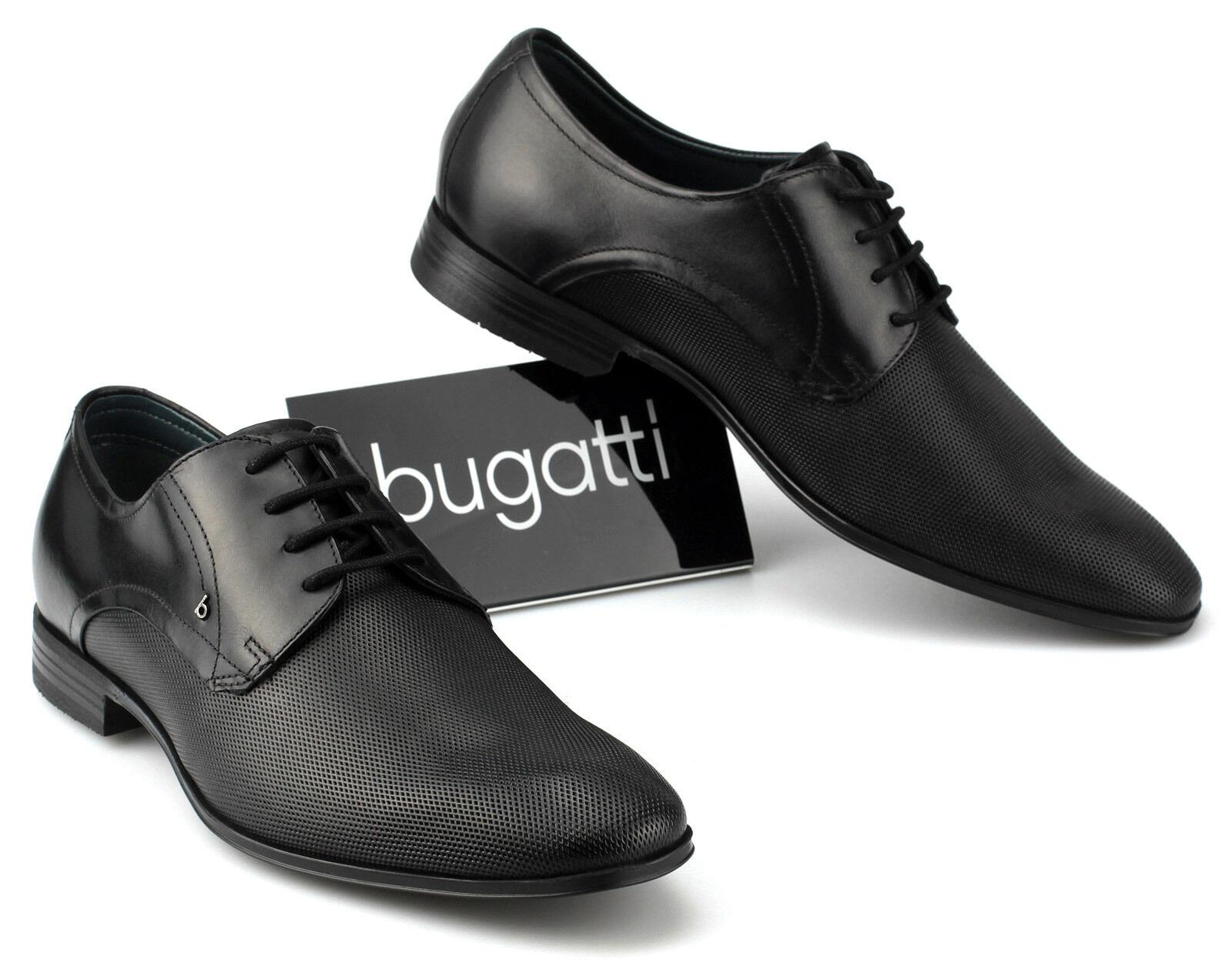 Bugatti Chaussures Hommes en Cuir Affaires Légères à Lacets U1811 Noir 47 48