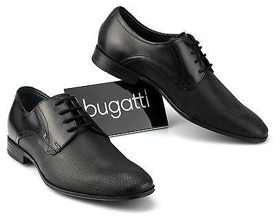 Bugatti Herren Schuhe Leder Business Halbschuhe Schnürer U1811 Schwarz 47 48 | eBay