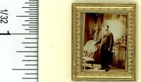 Dollhouse Miniature Vintage Gentleman Sepia Print In Gold Frame