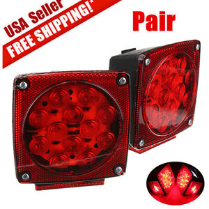 "Pair LED Submersible Square Lights Trailer Under 80"" Tail Brake Boat Stud Mount"