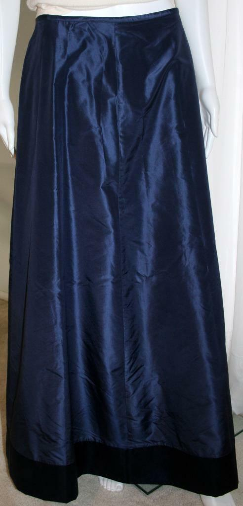 LAURA Ashley 100% Silk Ankle Length Skirt Sz 8 Dark bluee NWT