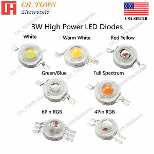 3W watts High Power SMD LED COB Chip Lights White Red Blue Green RGB UV Lamp