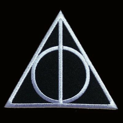 Harry Potter Deathly Hollows Symbol Floral Iron On Patch Official 118-I