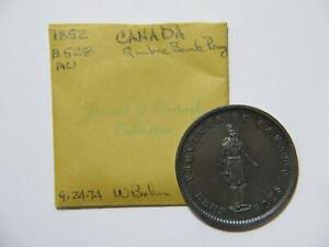 CANADA QUEBEC BANK 1852 ONE PENNY TOKEN EX: DONALD G PARTRICK BRETON 528 🌈 ⭐🌈