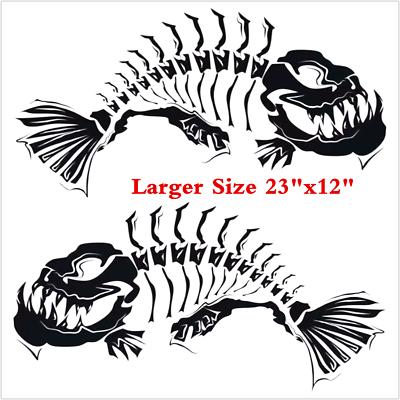 Fish Bone Skeleton Boat Decal Large Fishing Graphic Car Sticker Shark Salt Skiff
