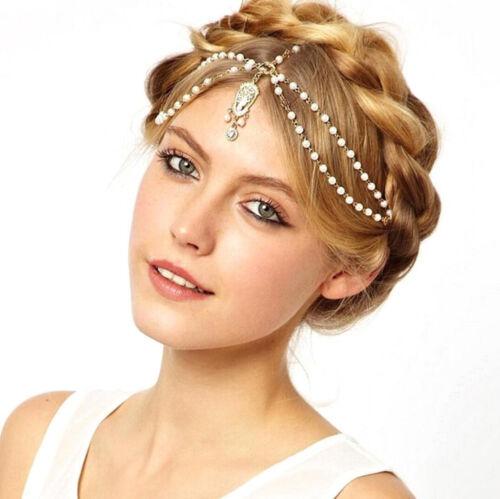 Women Lady BOHO Gold Moon wedding Party Hair chain head band Headband headpiece