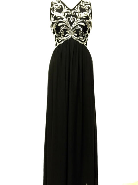 BNWT BLACK Maxi Dress Gem Sequin Embellished Bridesmaid Evening Party Prom Gown
