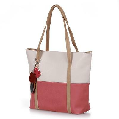 Women's Lady PU Leather Bag Handbag Shoulderbag Tote Shopper Beige+Watermelon