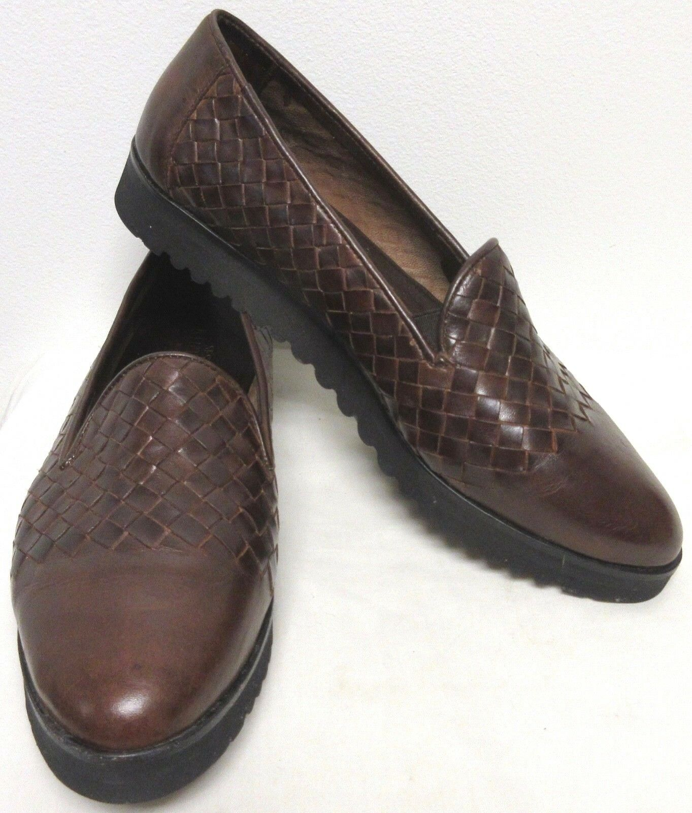 SESTO MEUCCI BROW WOVEN LEATHER COMFORT SPORT SLIP-ON Schuhe LOAFERS RUBBER SOLE