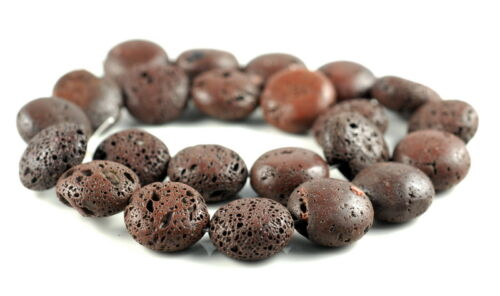 18MM COFFEE VOLCANIC LAVA GEMSTONE GRADE A FLAT ROUND BUTTON LOOSE BEADS 16/""