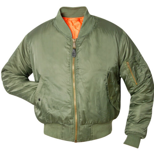 MA1 FLIEGERJACKE oliv grün S-XXL Bomberjacke US Pilotenjacke Blouson Wendejacke