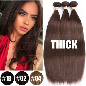 Unprocessed-THICK-Virgin-Human-Hair-Extensions-3-Bundles-Brown-Weave-Straight-US