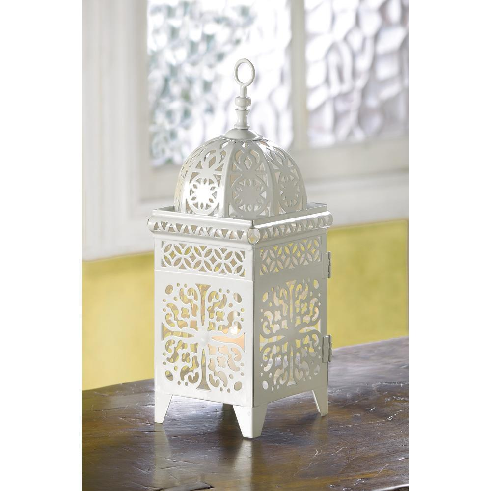 Lot de 5 SOFT BLANC VOLUTES Bougie Lanterne Lampe de table de Mariage pièce centrale NEUF