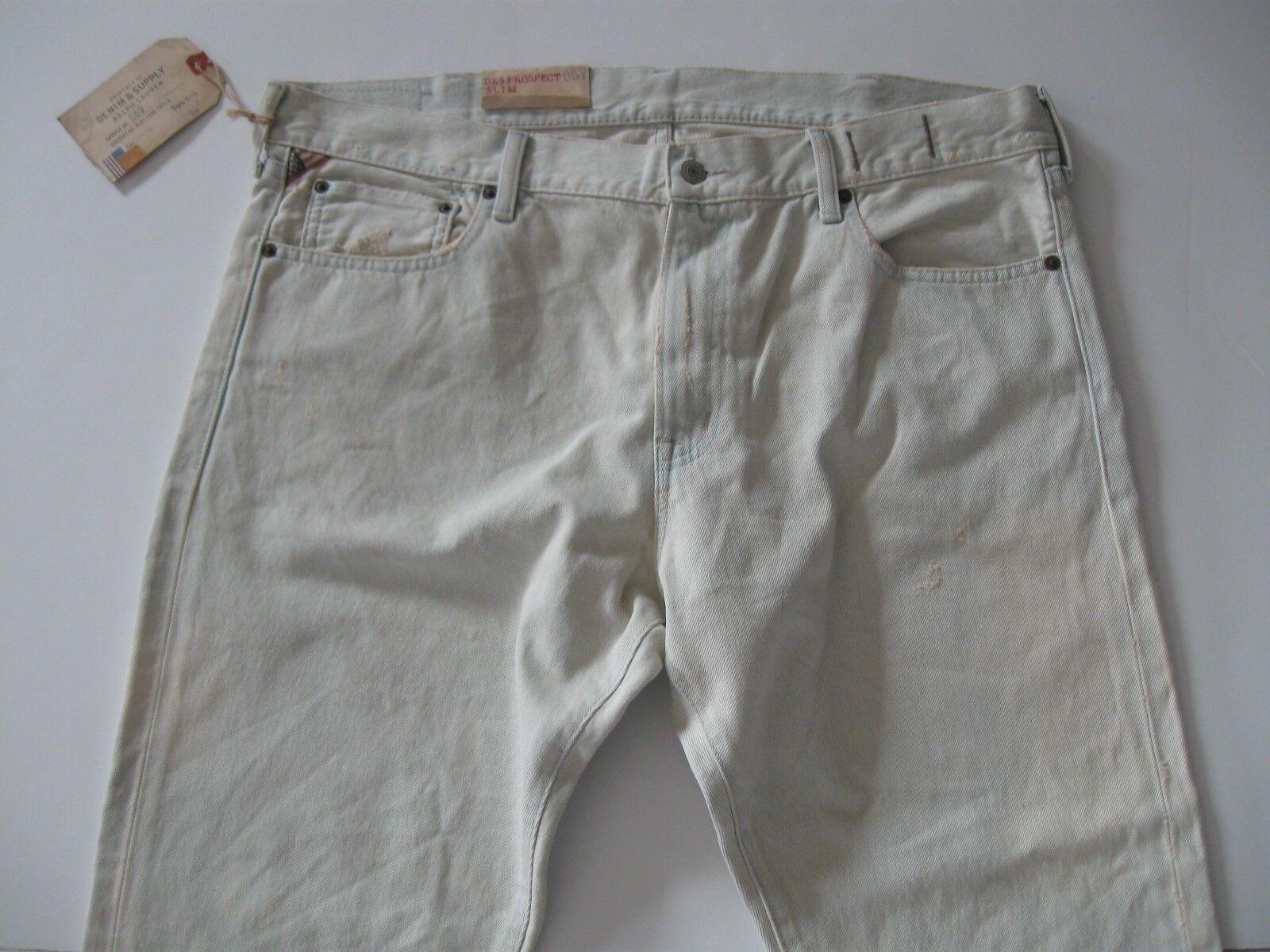 DENIM & SUPPLY RALPH LAUREN Men's Slim-Fit Very Faded bluee Wash Jeans 38x32