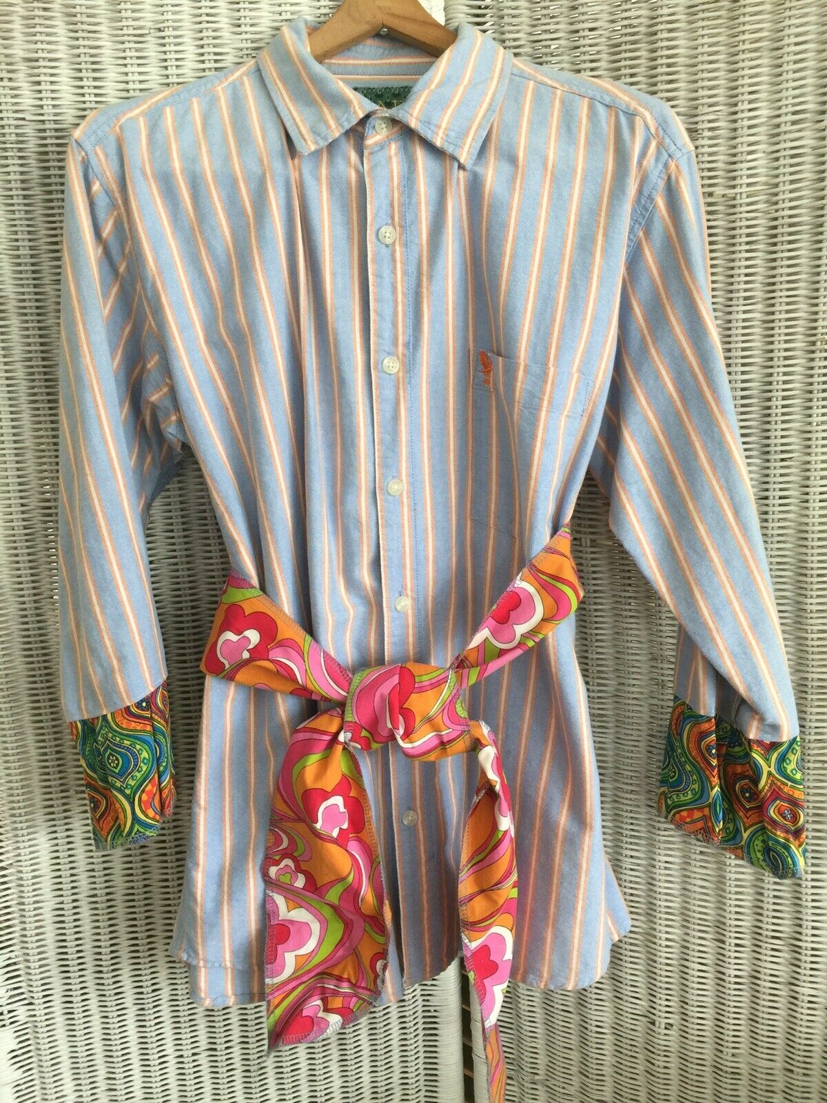 Womens Reconstructed Top From Mens Shirt bluee orange Pink White Turquoise