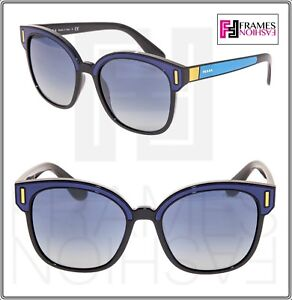 a0eaa71394731 PRADA TAPESTRY Square PR05US Navy Blue Color Block Black Sunglasses ...