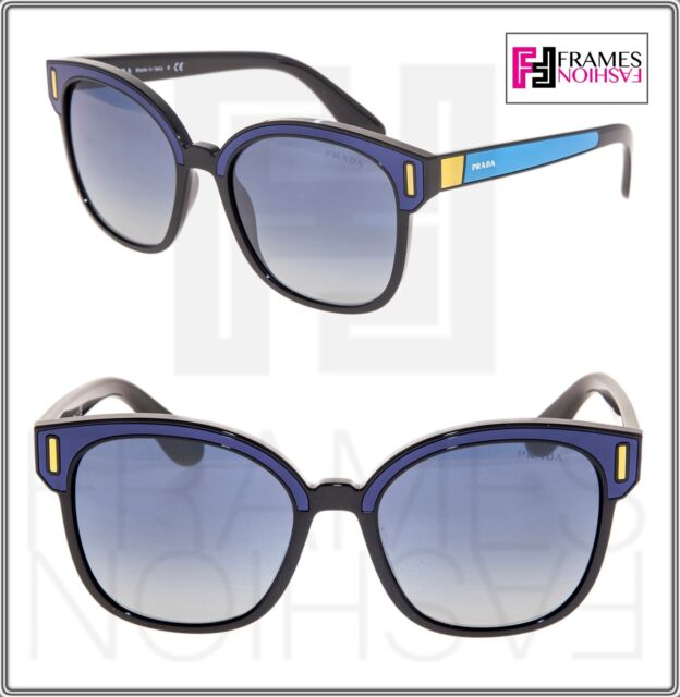 1c5f69dd96b PRADA TAPESTRY Square PR05US Navy Blue Color Block Black Sunglasses 05U  Women