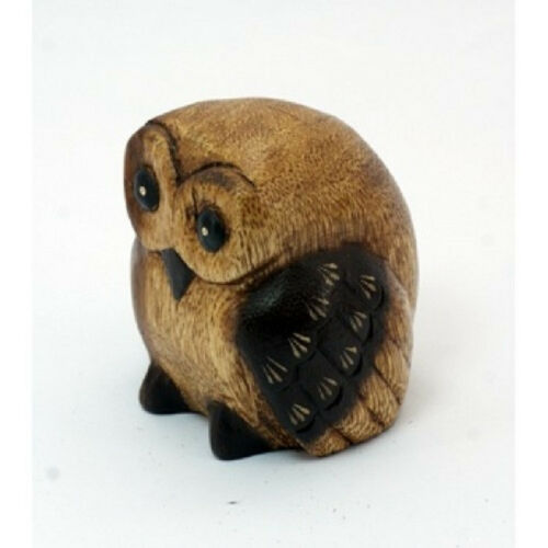 Fair Trade Wooden Owl with Baby Handcarved from Acacia Wood in Thailand