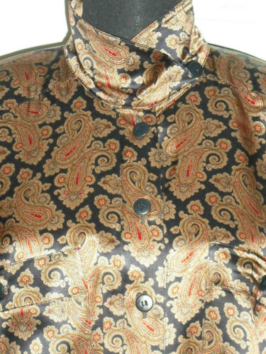 ESCADA Vintage 1980s Blouse 8 38 Silk Brown Blue R