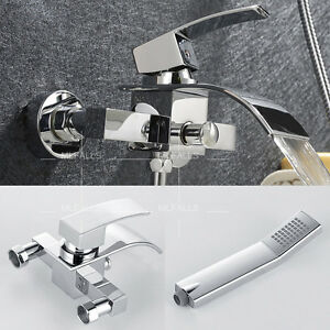Bath Tub Roman Waterfall Faucet With Handheld Shower Set Brass ...