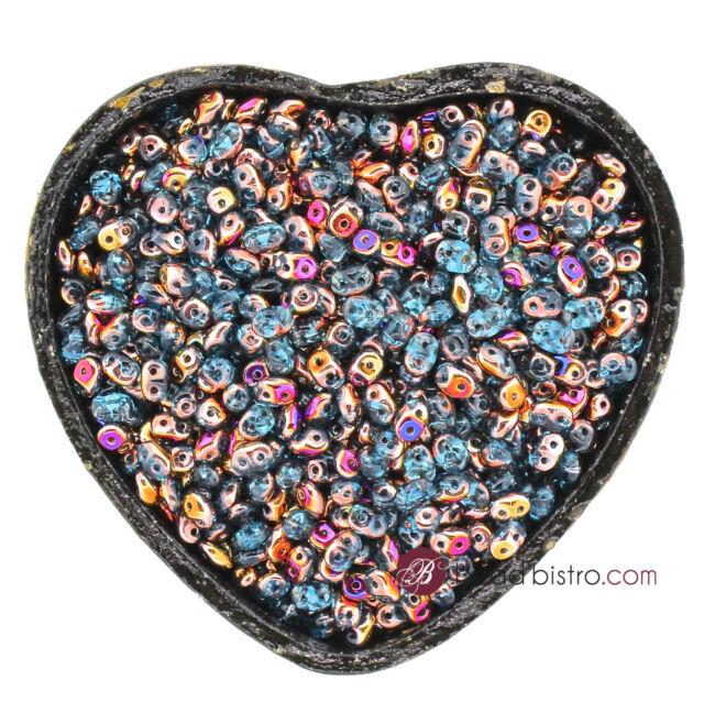 SuperDuos 2x5mm AQUAMARINE SLIPERIT - 2 Hole SuperDuo Beads - 20 Grams