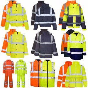 Hi-Vis-Visibility-Bomber-Fleece-Jacket-Parka-Coat-Body-Warmer-Rain-Suit-Security