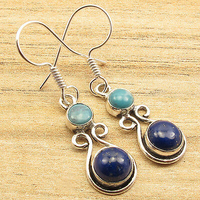 LARIMAR & LAPIS LAZULI ARTISAN Earrings 1 5/8 Inches ! Silver Plated Jewelry NEW