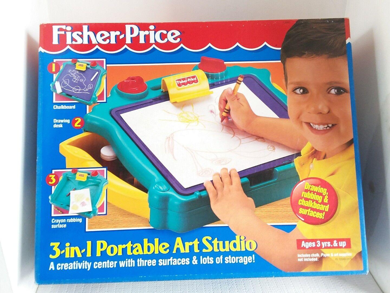 1996 FISHER PRICE RARE 3-IN-1 PORTABLE ART STUDIO  72043 NEW