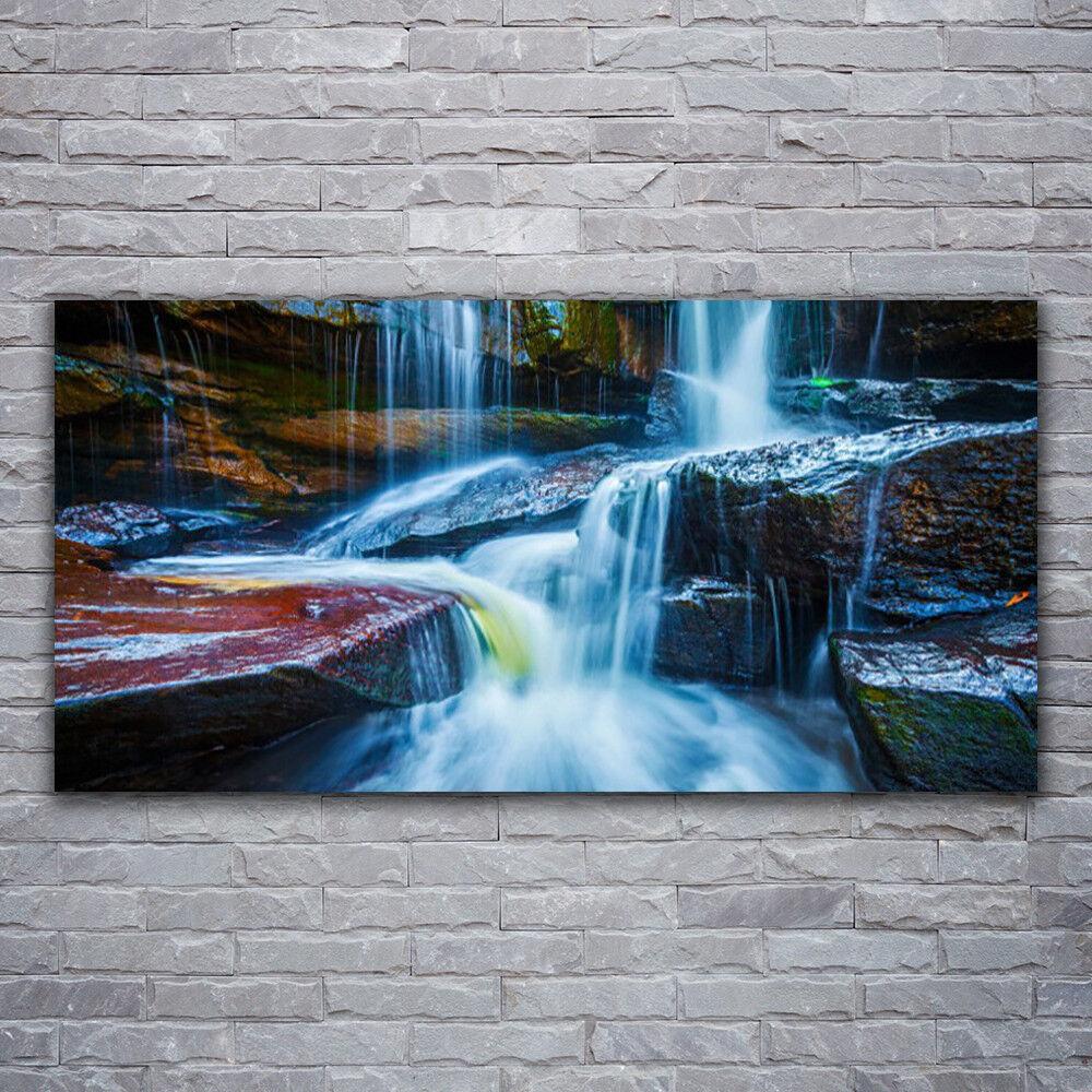 Photo sur toile Tableau Image Impression 120x60 Paysage Rochers Cascade