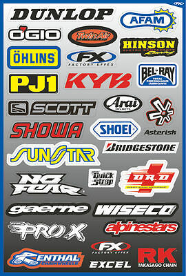 Factory Effex Sponsor Sticker Decal Sheet Dynojet Bridgestone Dunlop Yoshimura