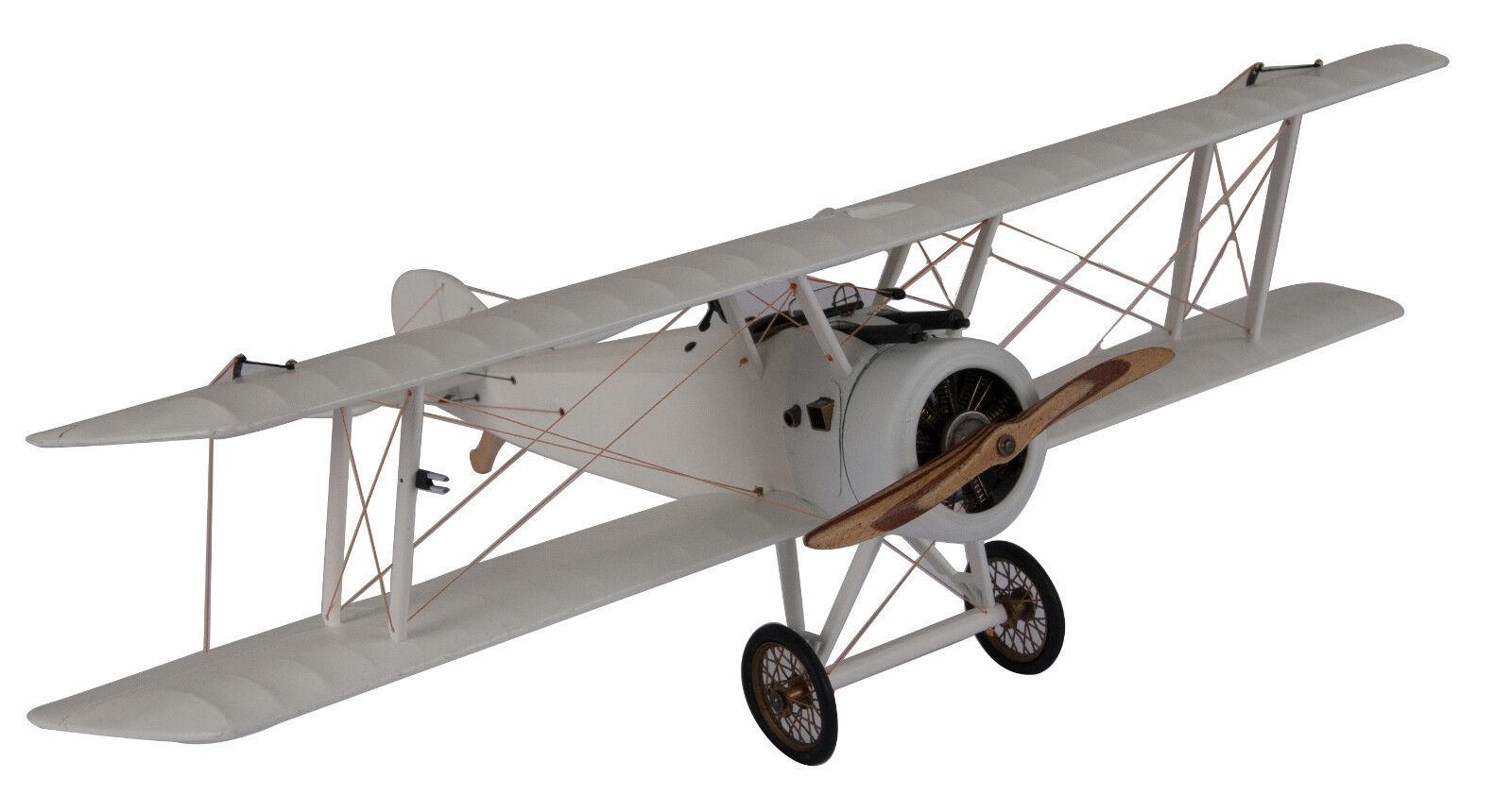 White WWI Sopwith Camel Biplane Wood Model 10  Plane Desktop & Hanging Decor New