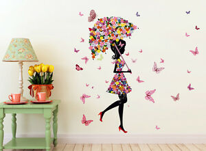 57000136 | Wall Stickers Umbrella Girl And Butterflies For Kids Room