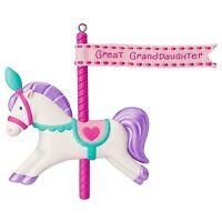 Great Granddaughter 2016 Hallmark Ornament Family Carousel Horse Girl Pink