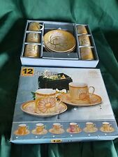 12 YAMASEN GOLD COLLECTION FINE PORCELAIN JAPAN 24CT GOLD PLATED cups & saucers