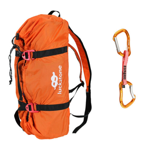 Folding Rock Climbing Rope Sling Bag Gear Carry Backpack with Quickdraw Hook