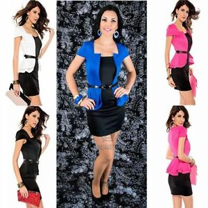 Formal-Office-Work-Wear-Short-Cap-Sleeve-Black-Peplum-Mini-Bodycon-Party-Dress