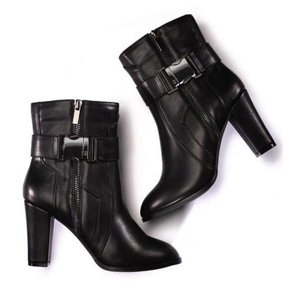 Ladies Black Buckle Pants Boot - Bootie