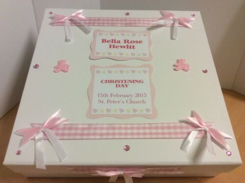 Present New baby Girl Keepsake Box Christening Gift Personalised Baby Card