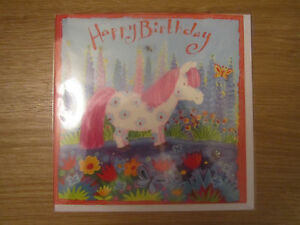 Sealed Happy Birthday Greeting Card Pink Pony Girls Pretty Bright Colourful 910 - <span itemprop=availableAtOrFrom>Hailsham, United Kingdom</span> - Sealed Happy Birthday Greeting Card Pink Pony Girls Pretty Bright Colourful 910 - Hailsham, United Kingdom