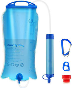 3L Gravity Survival Water Filter Straw Bag Camping Hiking Backpacking Emergency