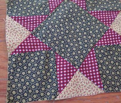 Antique Hand Sewn Quilt Block Cotton Calico Fabric Cherries Over Dyed Green