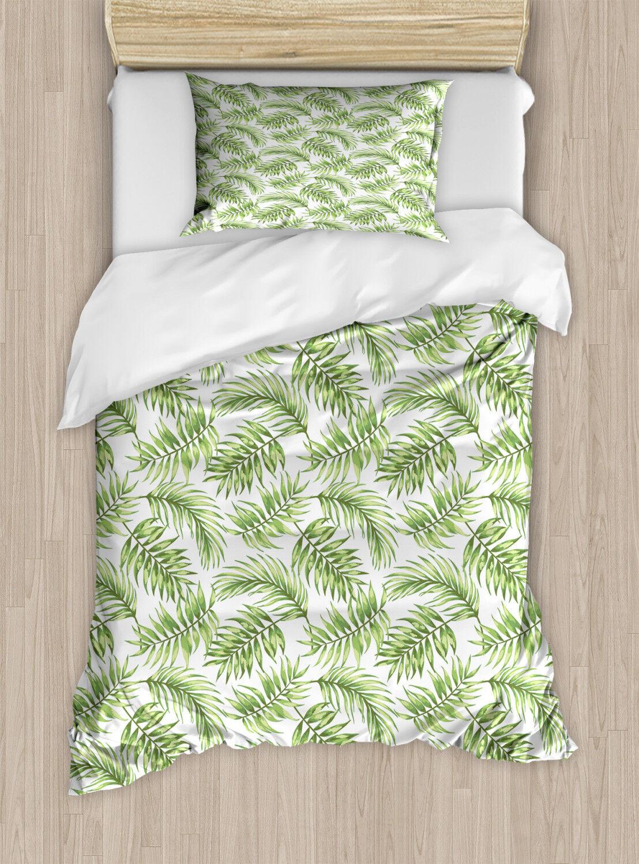 Flamingo Duvet Cover Set with Pillow Shams Exotic Hawaiian Leaf Print