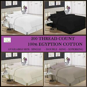 Bedding Flat Sheets Luxury 100% Egyptian Cotton 200 Thread Count Flat Sheet Single Double King Sk