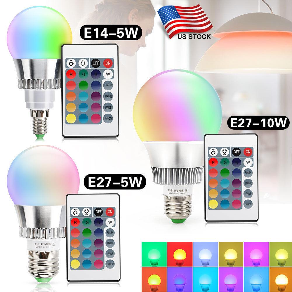 Bar KTV LED Bulb E27 E14 5W 10W Dimmable RGB LED Light Lamp Energy Saving+Remote