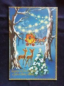 Cartoline Buon Natale E Felice Anno Nuovo.Cartolina Buon Natale E Felice Anno Nuovo Carrozza E Cerbiatti Z626 Ebay